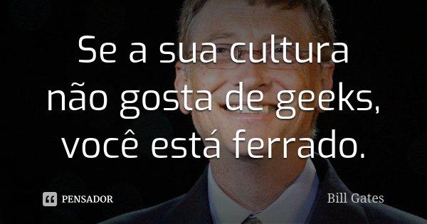 Se a sua cultura não gosta de geeks, você está ferrado.... Frase de Bill Gates.