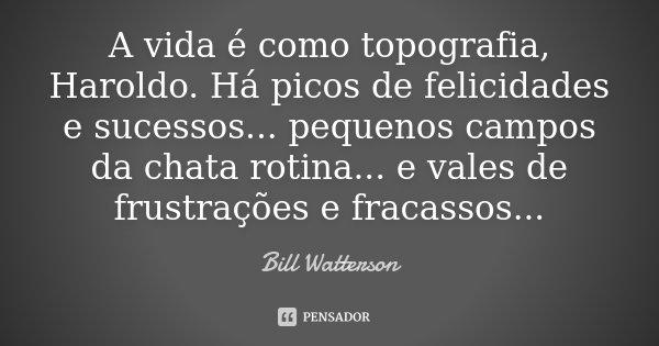 A vida é como topografia, Haroldo. Há picos de felicidades e sucessos... pequenos campos da chata rotina... e vales de frustrações e fracassos...... Frase de Bill Watterson.