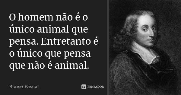 O Homem não é o único animal que pensa. Entretanto é o único que pensa que não é animal.... Frase de Blaise Pascal.