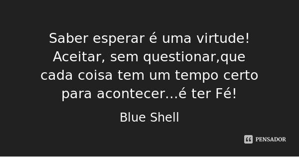 Saber esperar é uma virtude! Aceitar, sem questionar,que cada coisa tem um tempo certo para acontecer...é ter Fé!... Frase de Blue Shell.