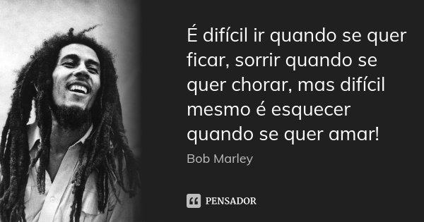É difícil ir quando se quer ficar, sorrir quando se quer chorar, mas difícil mesmo é esquecer quando se quer amar!... Frase de Bob Marley.