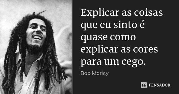 Explicar as coisas que eu sinto é quase como explicar as cores para um cego.... Frase de Bob Marley.