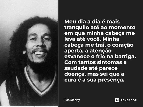 Meu dia-a-dia é mais tranquilo até ao momento em que minha cabeça me leva até você. Minha cabeça me trai, o coração aperta, a atenção esvanece o frio na barriga... Frase de Bob Marley.