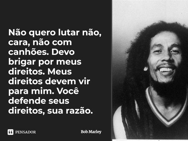 Não quero lutar não cara, não com canhões. Devo brigar por meus direitos. Meus direitos devem vir para mim. Você defende seus direitos, sua razão.... Frase de Bob Marley.