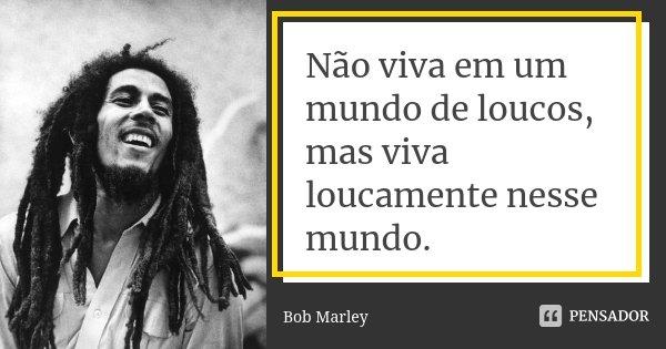 Não viva em um mundo de loucos, mas viva loucamente nesse mundo.... Frase de Bob Marley.