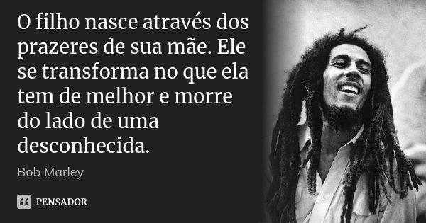 O filho nasce através dos prazeres de sua mãe. Ele se transforma no que ela tem de melhor e morre do lado de uma desconhecida.... Frase de Bob Marley.