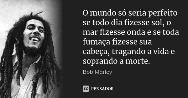 O mundo só seria perfeito se todo dia fizesse sol, o mar fizesse onda e se toda fumaça fizesse sua cabeça, tragando a vida e soprando a morte.... Frase de Bob Marley.
