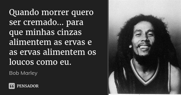 Quando morrer quero ser cremado... para que minhas cinzas alimentem as ervas e as ervas alimentem os loucos como eu.... Frase de Bob Marley.