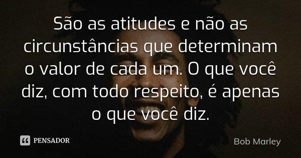 São as atitudes e não as circunstâncias que determinam o valor de cada um. O que você diz, com todo respeito, é apenas o que você diz.... Frase de Bob Marley.