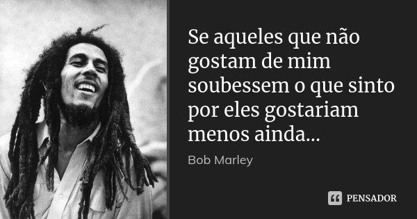 Se aqueles que não gostam de mim soubessem o que sinto por eles gostariam menos ainda...... Frase de Bob Marley.