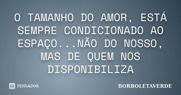 O TAMANHO DO AMOR, ESTÁ SEMPRE CONDICIONADO AO ESPAÇO...NÃO DO NOSSO, MAS DE QUEM NOS DISPONIBILIZA... Frase de BORBOLETAVERDE.