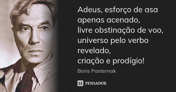 Adeus, esforço de asa apenas acenado, livre obstinação de voo, universo pelo verbo revelado, criação e prodígio!... Frase de Boris Pasternak.