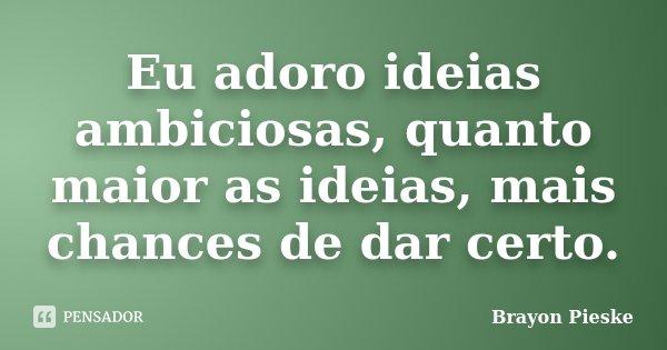 Eu adoro ideias ambiciosas, quanto maior as ideias, mais chances de dar certo.... Frase de Brayon Pieske.
