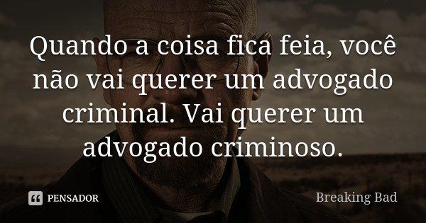 Quando a coisa fica feia, você não vai querer um advogado criminal. Vai querer um advogado criminoso.... Frase de Breaking Bad.