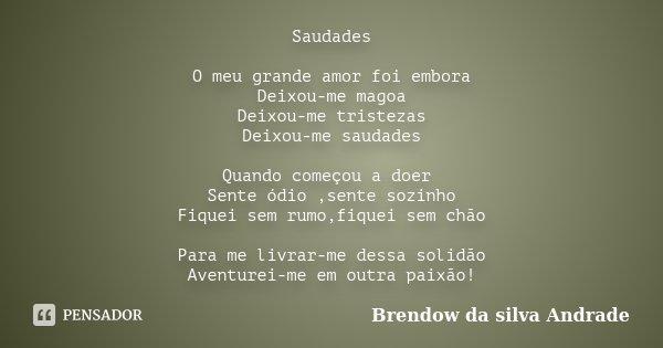 Saudades O Meu Grande Amor Foi Embora Brendow Da Silva Andrade