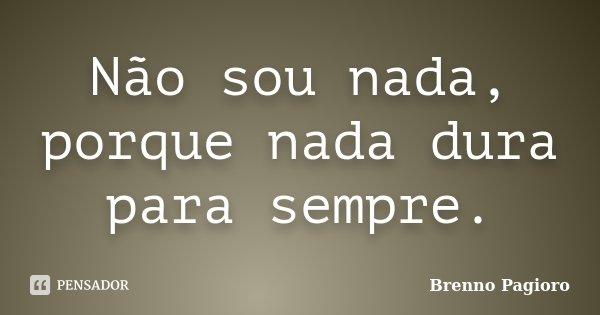Não sou nada, porque nada dura para sempre.... Frase de Brenno Pagioro.