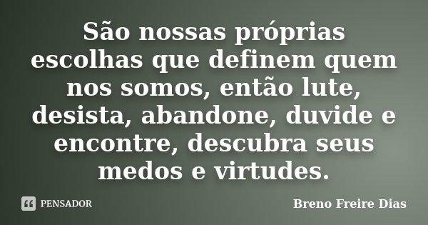 São nossas próprias escolhas que definem quem nos somos, então lute, desista, abandone, duvide e encontre, descubra seus medos e virtudes.... Frase de Breno Freire Dias.