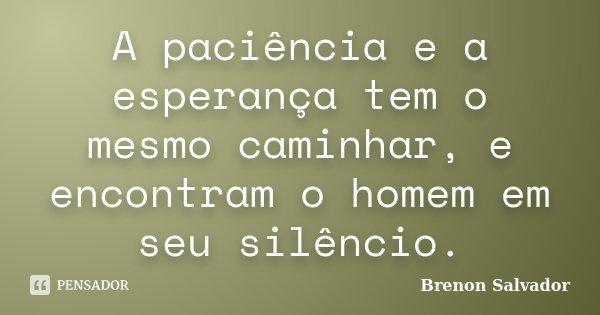A paciência e a esperança tem o mesmo caminhar, e encontram o homem em seu silêncio.... Frase de Brenon Salvador.
