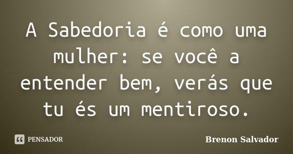 A Sabedoria é como uma mulher: se você a entender bem, verás que tu és um mentiroso.... Frase de Brenon Salvador.