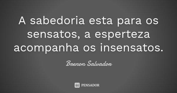 A sabedoria esta para os sensatos, a esperteza acompanha os insensatos.... Frase de Brenon Salvador.