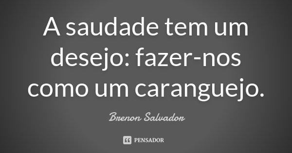 A saudade tem um desejo: fazer-nos como um caranguejo.... Frase de Brenon Salvador.