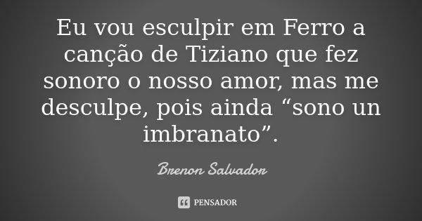 """Eu vou esculpir em Ferro a canção de Tiziano que fez sonoro o nosso amor, mas me desculpe, pois ainda """"sono un imbranato"""".... Frase de Brenon Salvador."""