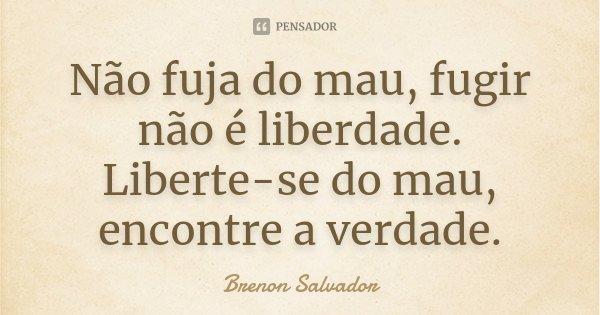 Não fuja do mau, fugir não é liberdade. Liberte-se do mau, encontre a verdade.... Frase de Brenon Salvador.