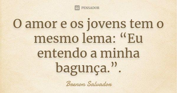 """O amor e os jovens tem o mesmo lema: """"Eu entendo a minha bagunça."""".... Frase de Brenon Salvador."""
