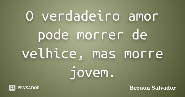 O verdadeiro amor pode morrer de velhice, mas morre jovem.... Frase de Brenon Salvador.