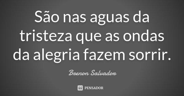 São nas aguas da tristeza que as ondas da alegria fazem sorrir.... Frase de Brenon Salvador.