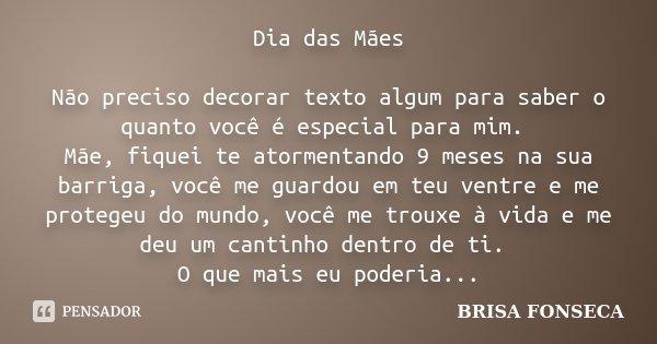 Dia Das Maes Nao Preciso Decorar Texto Brisa Fonseca