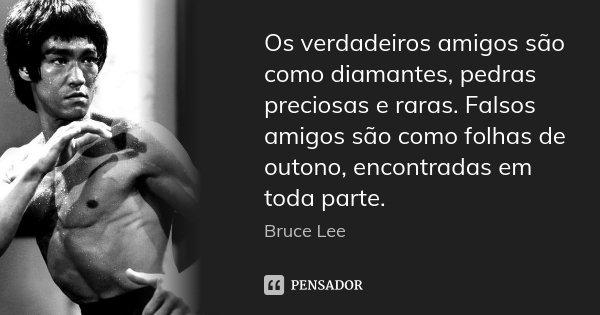 Os verdadeiros amigos são como diamantes, pedras preciosas e raras. Falsos amigos são como folhas de outono, encontradas em toda parte.... Frase de Bruce Lee.