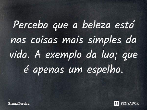 Perceba que a beleza está nas coisas mais simples da vida.A exemplo da lua; que é apenas um espelho... Frase de Bruna Pereira.