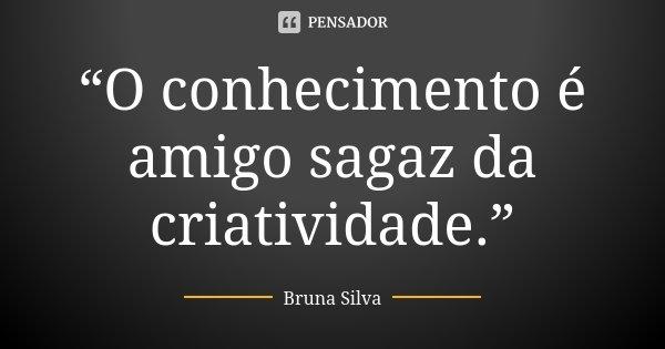 """""""O conhecimento é amigo sagaz da criatividade.""""... Frase de Bruna Silva."""