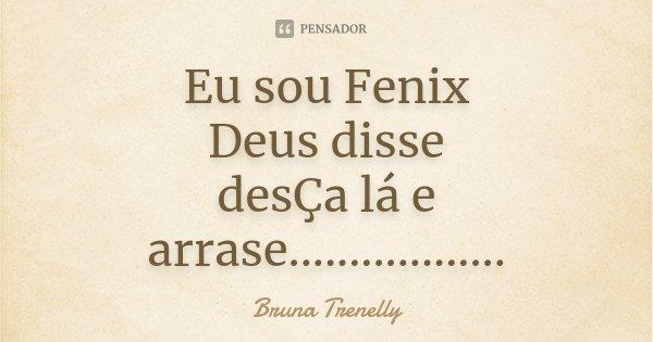 Eu sou Fenix Deus disse desÇa lá e arrase..................... Frase de Bruna Trenelly.
