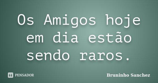 Os Amigos hoje em dia estão sendo raros.... Frase de Bruninho Sanchez.