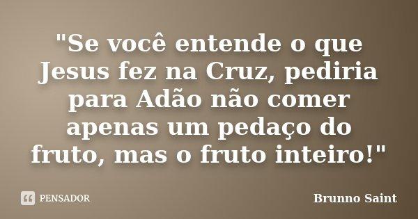 """""""Se você entende o que Jesus fez na Cruz, pediria para Adão não comer apenas um pedaço do fruto, mas o fruto inteiro!""""... Frase de Brunno Saint."""