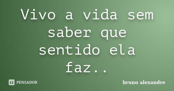 Vivo a vida sem saber que sentido ela faz..... Frase de Bruno Alexandre.