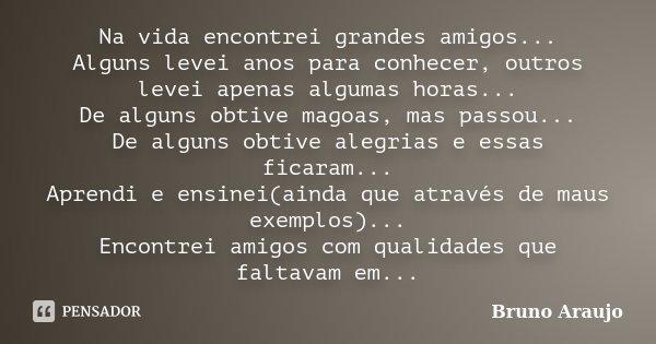 Na vida encontrei grandes amigos... Alguns levei anos para conhecer, outros levei apenas algumas horas... De alguns obtive magoas, mas passou... De alguns obtiv... Frase de Bruno Araujo.