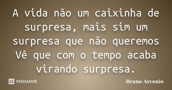 A vida não um caixinha de surpresa, mais sim um surpresa que não queremos Vê que com o tempo acaba virando surpresa.... Frase de Bruno Arcenio.
