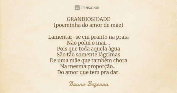 GRANDIOSIDADE (poeminha do amor de mãe) Lamentar-se em pranto na praia Não polui o mar... Pois que toda aquela água São tão somente lágrimas De uma mãe que tamb... Frase de Bruno Bezerra.