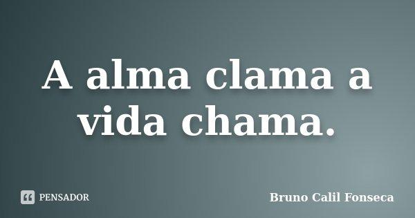A alma clama a vida chama.... Frase de Bruno Calil Fonseca.
