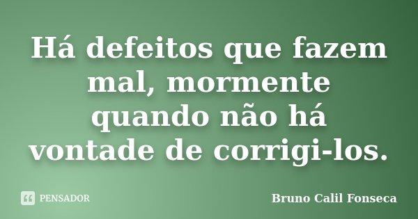 Há defeitos que fazem mal, mormente quando não há vontade de corrigi-los.... Frase de Bruno Calil Fonseca.