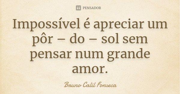 Impossível é apreciar um pôr – do – sol sem pensar num grande amor.... Frase de Bruno Calil Fonseca.