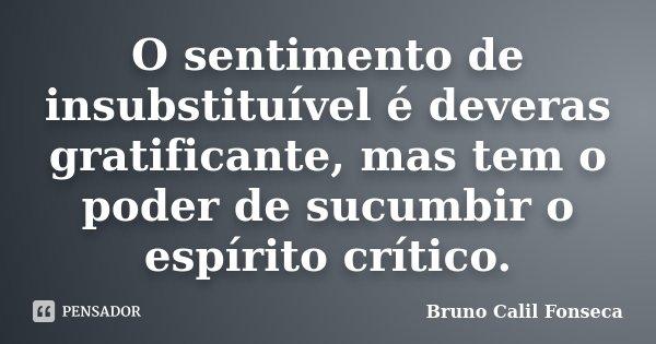 O sentimento de insubstituível é deveras gratificante, mas tem o poder de sucumbir o espírito crítico.... Frase de Bruno Calil Fonseca.