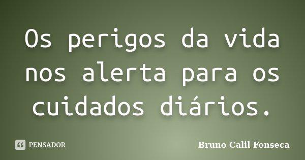 Os perigos da vida nos alerta para os cuidados diários.... Frase de Bruno Calil Fonseca.