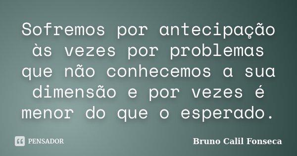 Sofremos por antecipação às vezes por problemas que não conhecemos a sua dimensão e por vezes é menor do que o esperado.... Frase de Bruno Calil Fonseca.