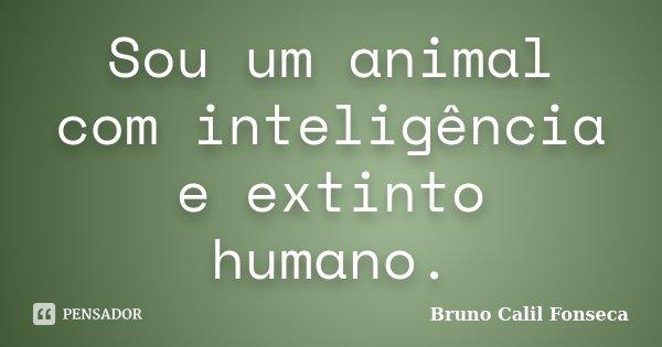 Sou um animal com inteligência e extinto humano.... Frase de Bruno Calil Fonseca.