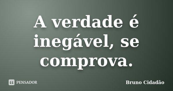 A verdade é inegável, se comprova.... Frase de Bruno Cidadão.