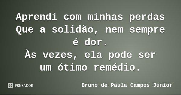 Aprendi com minhas perdas Que a solidão, nem sempre é dor. Às vezes, ela pode ser um ótimo remédio.... Frase de Bruno de Paula Campos Júnior.